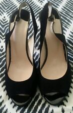 WITCHERY Black Leather Suede Open Toe Sling Backs Pumps Heels Stilletos EU 41