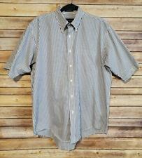 Gant Button Down Blue White Short Sleeve Dress Shirt Mens 16 Wrinkleless
