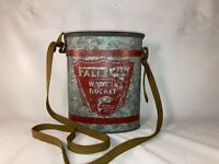 Vintage Oval Bait Minnow Bucket Falls City Wade In w/ Lid and Canvas Strap
