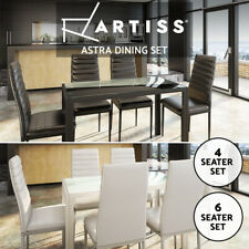 Artiss Dining Table and Chairs Set Of 4 5 7 Chair Glass Table Black White