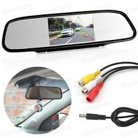 "4.3"" Screen TFT Car LCD Rear View Monitor Mirror DVD AV 12V for Backup Camera"