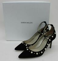 KAREN MILLEN Ladies Black Suede Faux Pearl Embellished Court Shoes UK6 EU39 BNIB