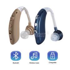 Usb Recarregável Mini behind-the-ear Digital aparelho auditivo Amplificador Som Bluetooth Com Caixa