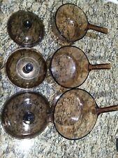 6 Pc Corning Pyrex Visions Ware Amber Brown Cookware Glass Pot Sauce Pans Set