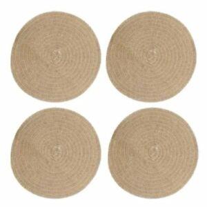 NATURAL HESSIAN Round JUTE PLACEMATS Set of 4 - 41cm diam