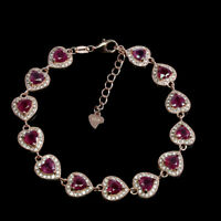 Heart Red Ruby 5mm AAA White Cz 14K Rose Gold Plate 925 Sterling Silver Bracelet