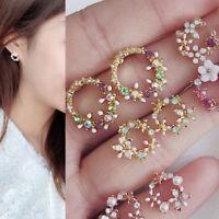 Silver Plated Stud Crystal Garland Flowers Ear Stud Women Earrings Jewelry Gif&h