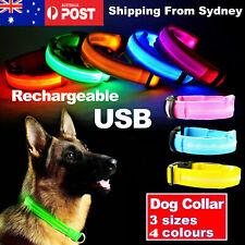 USB Rechargeable LED Dog Collar Nylon Glow Flashing Light Up Safety Pet Collars