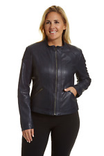 Excelled Women's Plus Lambskin Leather Scooter Jacket Periwinkle 1X #NK8RG-M829