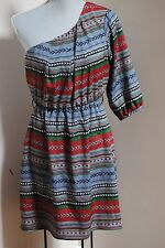 Needle & Thread one shoulder native Dress size M ladies blue red white striped