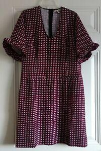 MARNI Size 40 US 10 100% Silk Square Print Short Sleeves Shift Midi Dress $995
