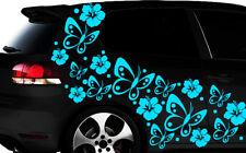 108-teiliges Auto Aufkleber Hibiskus Blumen Schmetterlinge HAWAII WANDTATTOO lzp