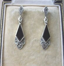 Deco Inspired Genuine Black Onyx, Silver & Marcasite Drop Earrings