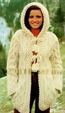 Knitting Pattern Lady's Chunky Cable Coat With Hood. Hippie/Boho