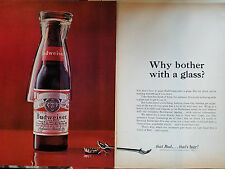 1964 Budweiser Beer Why Bother With A Glass Bottle Can Opener Original Color Ad