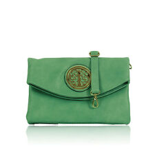 New Ladies Womens Gessy Olive Green Faux Leather Shoulder Clutch Bag Purse