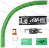 SKY HIGH 250 AMP ANL Fuse Holder BATTERY INSTALL KIT 0 GAUGE 1 FT CCA GREEN