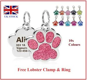 Pet ID Tags, Paw Glitter Engraved Dog Tag, Personalised Engraving Dog Cat Collar