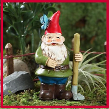 Miniature Dollhouse Fairy Garden Gnorman Butterfly Raking Garden Gnome w Pick