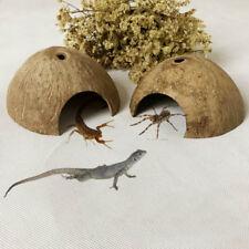 Reptile Hide Habitat Natural Coconut Shell Lizard Spider Animal Cave House Decor