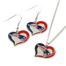 New England Patriot Fashion Jewelry Set Necklace-Earrings Team Logo Licensed NFL