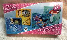 Disney Princess 4 Pack Jigsaw Puzzles 12pc Ea - Belle Ariel Jasmine Cinderella