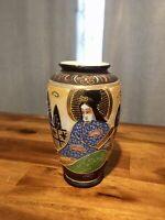 Vintage Moriage Japanese Satsuma Style Hand Painted Pottery Japan Vase, Nice!