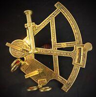 Superbe sextant vintage mais neuf en laiton massif fonctionne repro deco marine