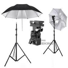 Light Stand + Flash B Bracket + Black Reflective Umbrella Studio Lighting Kit