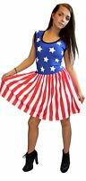 LADIES USA FLAG STARS STRIPES ROCKABILLY SWING SLEEVELESS GATHERING DRESS
