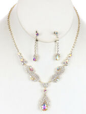 SILVER CLEAR AB IRIDESCENT RHINESTONE CRYSTAL NECKLACE & EARRINGS SET WEDDING