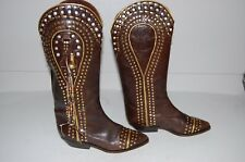 El Vaquero Brown Leather Boots Gold Studded,Rhinestones & Tassels,Size 37,US 7