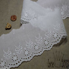 3Yds Embroidery scalloped cotton eyelet lace trim (6.5cm) YH837 laceking2013
