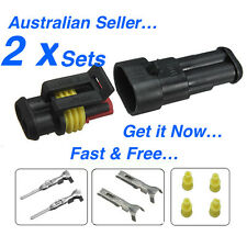 2 x 2 Pin Waterproof Automotive/Marine Electrical Sealed Wire Connector 12v