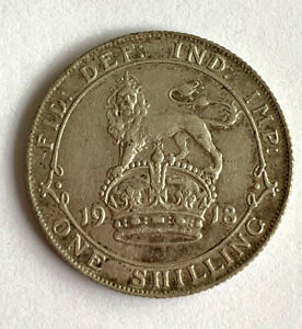 King George V 1918 One Shilling Silver Coin I'm Excellent Condition.