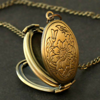Expanding 4 Photos Locket Necklace Oval Pendant Memorial Family LOVE Gift BW