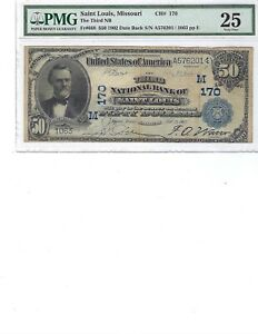 1902 $50 National Bank Note FR668 CH170 St. Louis, Missouri PMG 25 VF!!!
