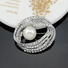 New Design Spiral Big Pearl Rhinestone White Women wedding Party Dress Brooch