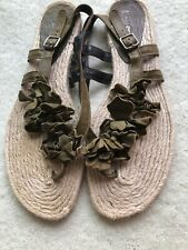 Nara shoes thong summer sandals 10M Italy jute leather flats