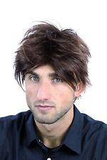 Perruque Perruque Pour Homme court sauvage brun foncé Rouge brun Mèches WL-2075