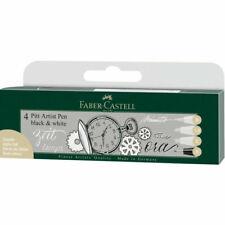 Faber-Castell FC167151 Pitt Artist Pen - Black/White - 4 Pack