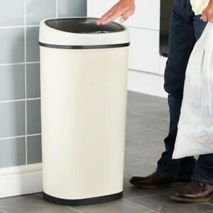 50L Large Electric Rubbish Bin With Automatic Sensor Cream Hands Free Steel New