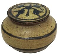 Jar Stoneware Pottery Container with Lid SIGNED 3.25 x 4.5