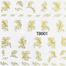 3d Nail Art Transfer Stickers 1 Sheet Flower Decals Manicure Decoration Tips Tb001-gold