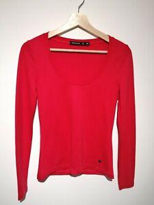 Karen Millen UK 10 Long Sleeve Top T-shirt Bright Red Scoop Neck