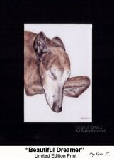 Greyhound Brindle Sleeping Beautiful Dreamer Signed Art Kevin Z Arttogo NEW