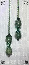 Handcrafted Qinghai Jade Semi Precious Gemstone Sea Green Theme Ceiling Fan Pull