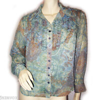 COLDWATER CREEK Womens Button Down Shirt Top Blouse Long Sleeve Blue Multicolor