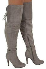 Boots Over The Knee Faux Suede Stiletto High Heel Womens Boots UK