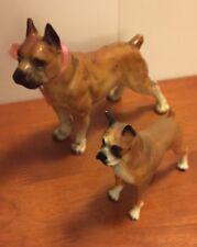Lot 2 Vintage Standing Boxer Dog 1950s Porcelain Figurine Japan 1991 Molded Toy